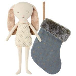 Kanin engel i julesok (støvet blå)