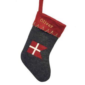 Stor julesok Med Navn - Grå med Dannebro